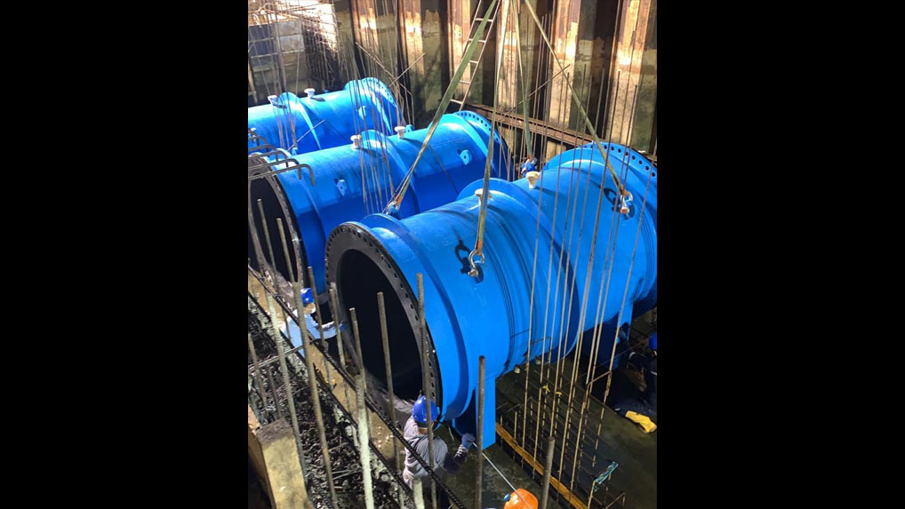 "72"" 9500-XL pinch and check valves for massive stormwater infrastructure project."